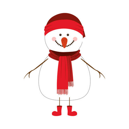 happy snowman cartoon icon image vector illustration design Illusztráció