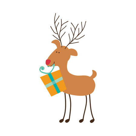 red nose: rudolph reindeer holding gift christmas icon image vector illustration