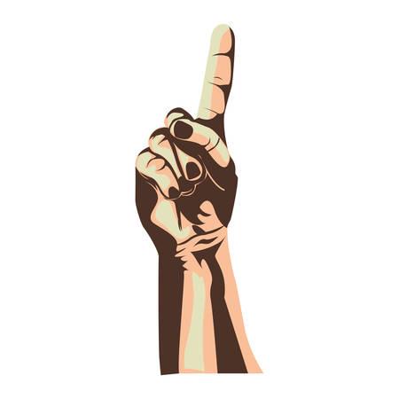 using senses: index finger up hand gesture icon image vector illustration Illustration