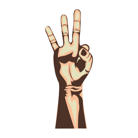 counting three hand gesture icon image vector illustration