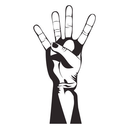 using senses: counting four hand gesture icon image vector illustration