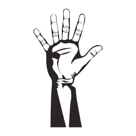 using senses: open hand gesture icon image vector illustration Illustration