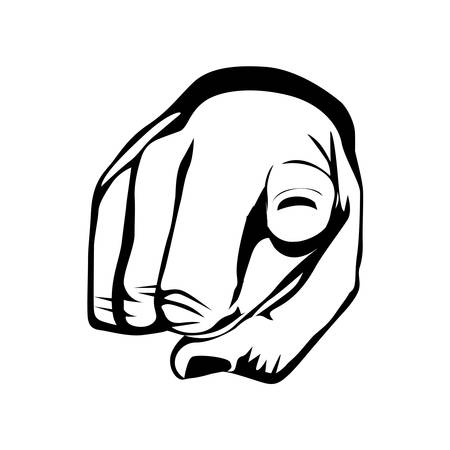 index: pointing with index finger hand gesture icon image vector illustration Illustration