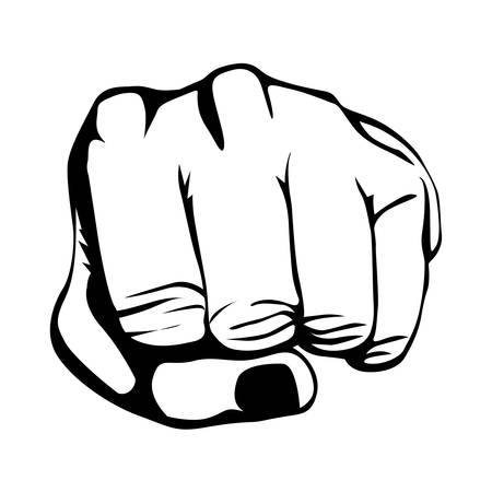 using senses: clenched fist hand gesture icon image vector illustration