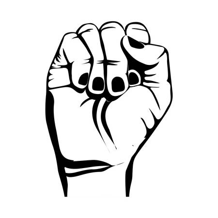 clenched fist hand gesture icon image vector illustration