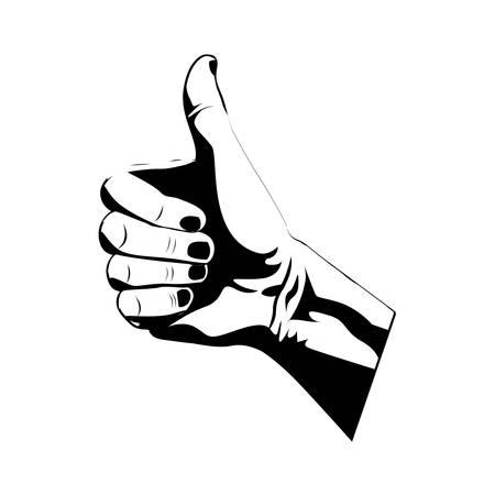 using senses: thumb up hand gesture icon image vector illustration Illustration