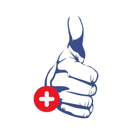thumb up hand gesture icon image vector illustration Illustration