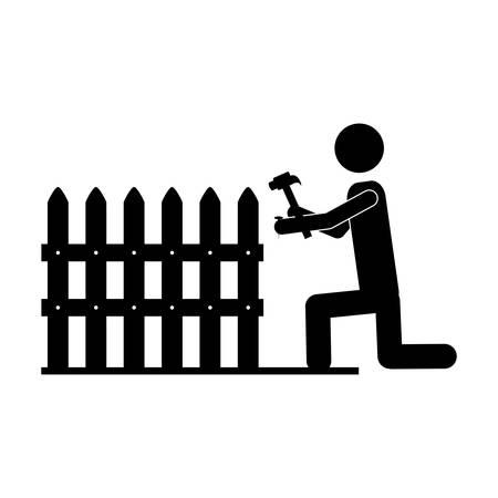 handy man: contractor or handy man icon image vector illustration design