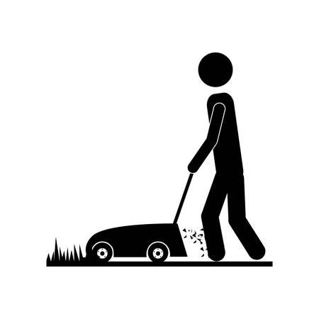 person using lawn mower icon image vector illustration design Illustration