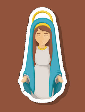 Mary cartoon icon. Holy night family christmas and betlehem theme. Colorful design. Vector illustration