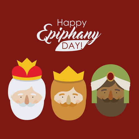 The three wisemen cartoons icon. Happy epiphany day holy night and christmas theme. Colorful design. Vector illustration