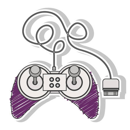 fushia striped remote control games with joystick vector illustration