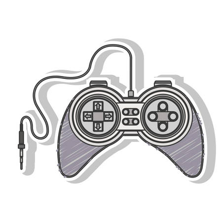 gray striped remote control games with jack connector vector illustration Illustration