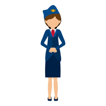 attendant: silhouette front flight attendant in outfit vector illustration