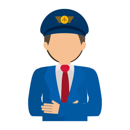 crossed arms: half body pilot with crossed arms vector illustration Illustration