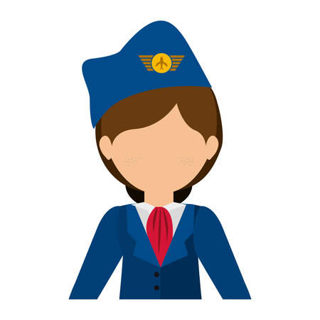 half body flight attendant with suit and hat vector illustration