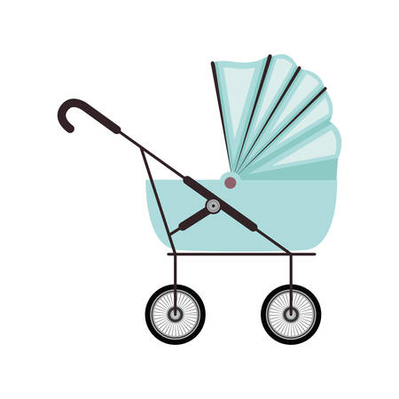 cute baby carriage with blue soft top vector illustration Illustration