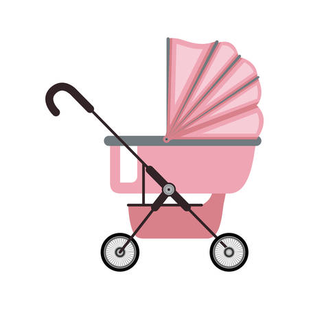 baby carriage with pink layette vector illustration