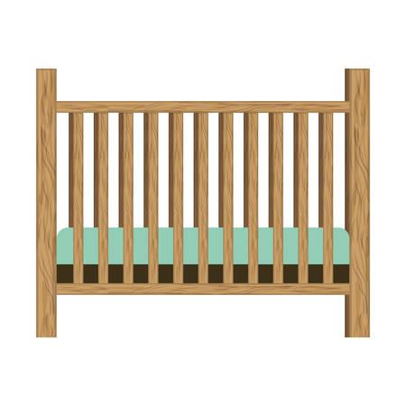 baby crib with wood railing vector illustration  イラスト・ベクター素材