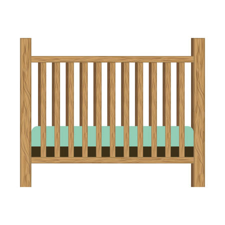 baby crib with wood railing vector illustration 向量圖像