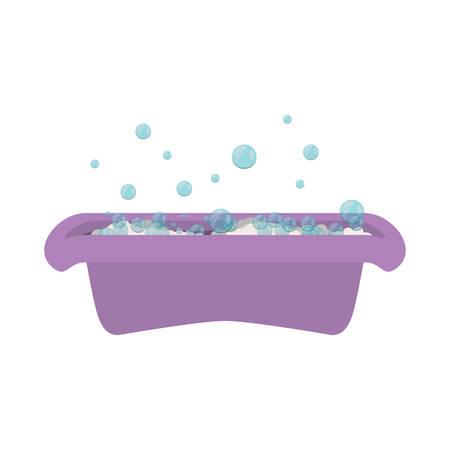 soap bubble: purple babys bathtub with soap bubble vector illustration