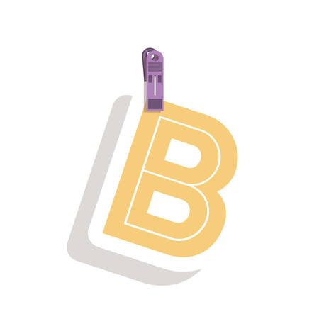 relive: Clothespin holding relive letter b in shade vector illustration Illustration