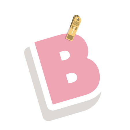 relive: Clothespin holding relive letter B vector illustration