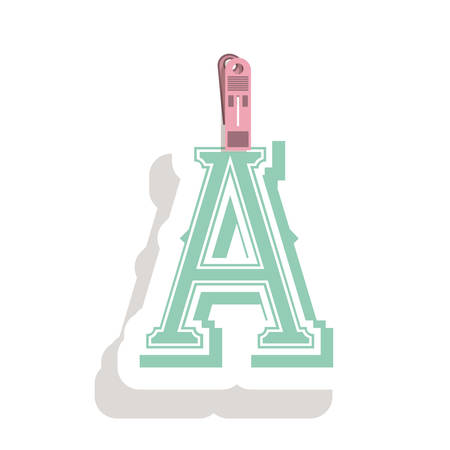 relive: Clothespin holding relive letter a in shade vector illustration