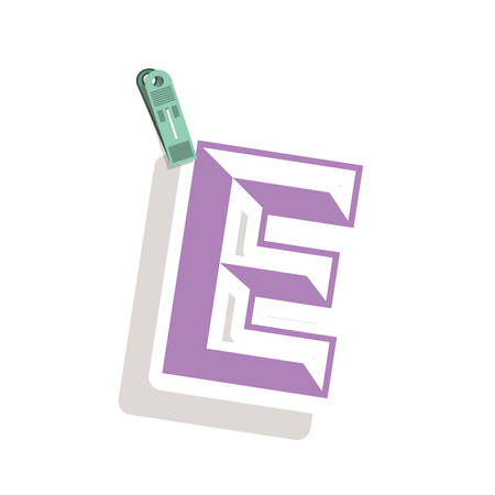 relive: Clothespin holding relive letter e in shade vector illustration Illustration