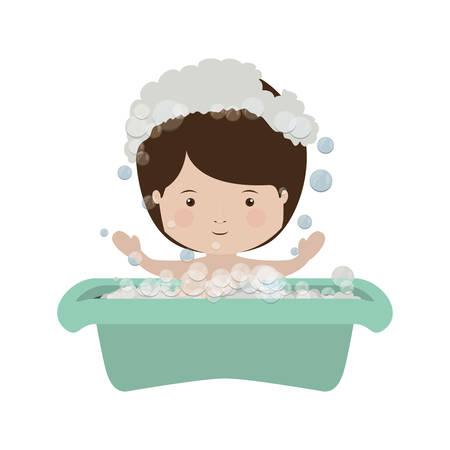 steam bath: boy in babys bathtub with soap bubble vector illustration