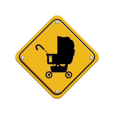 signal preventive with black silhouette baby carriage vector illustration