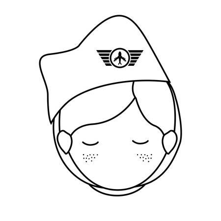 eyesclosed: silhouette front face woman flight attendant vector illustration Illustration