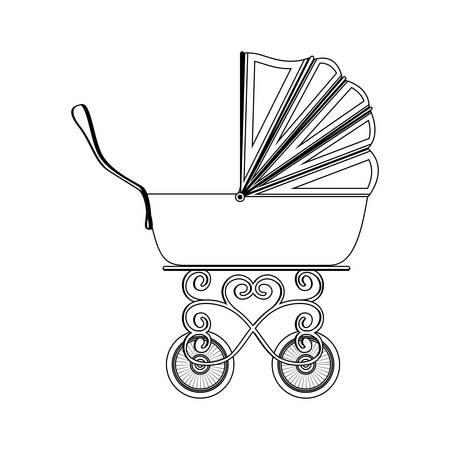 silueta carro bebé tradicional con la ilustración vectorial capota Ilustración de vector