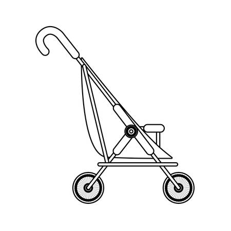 silhouette simple baby carriage and wheels vector illustration Illustration