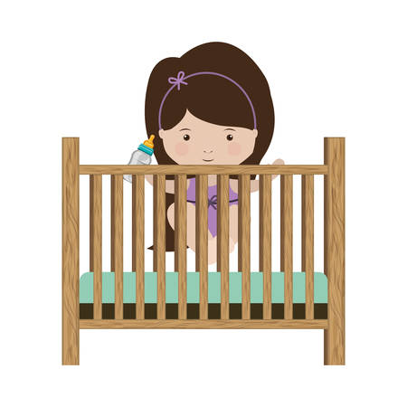 trundle: girl standing in crib with baby bottle vector illustration