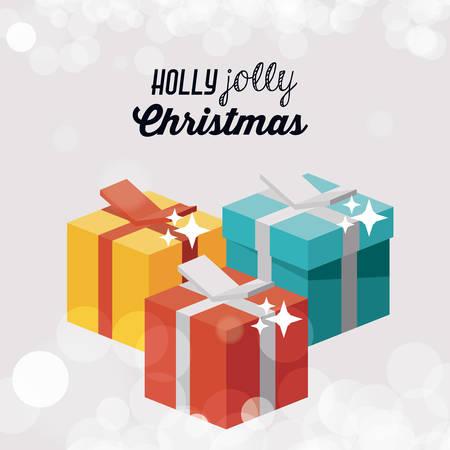 Isometric gift icon. Christmas season decoration and celebration theme. Colorful design. Vector illustration