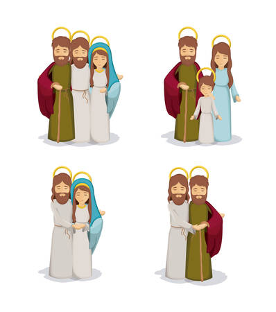 Mary joseph and jesus cartoon icon. Holy night family christmas and betlehem theme. Colorful design. Vector illustration