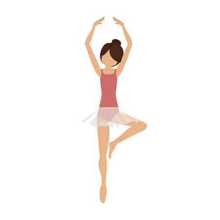 pirouette: colorful dancer pirouette fifth position vector illustration