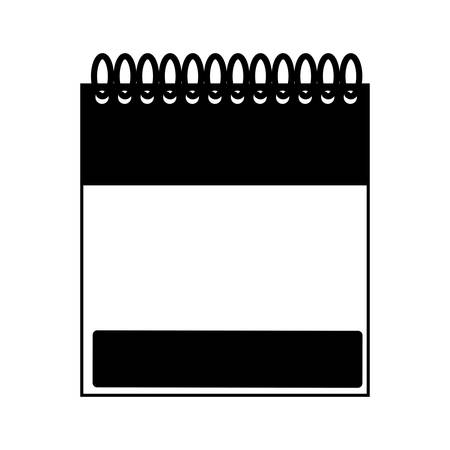 memos: monochrome notebook spiral with sheets vector illustration