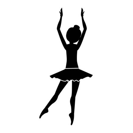 silhouette with dancer clears behind fifth position vector illustration
