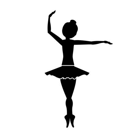 flexible girl: silhouette with dancer pirouette fourth position vector illustration