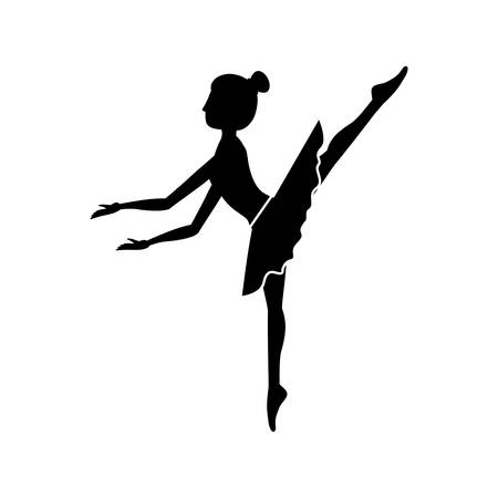 silhouette dancer pose fifth arabesque vector illustration