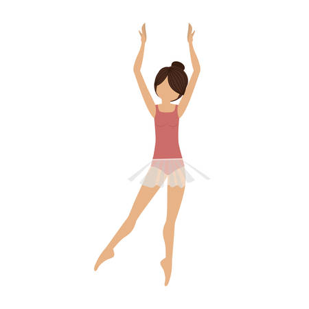 fifth: colorful dancer clears behind fifth position vector illustration Illustration