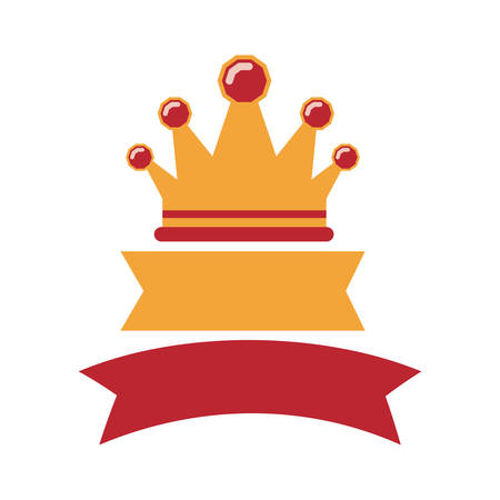 crown with labels red and yellow vector illustration Illustration
