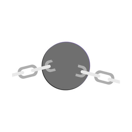 silhouette steel ball with chains vector illustration