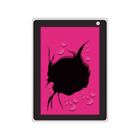broken screen: tech touch tablet with broken screen vector illustration