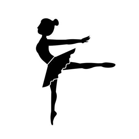 silhouette dancer pose fourth arabesque vector illustration Illustration