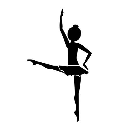 developed: silhouette dancer fourth position developed vector illustration Illustration
