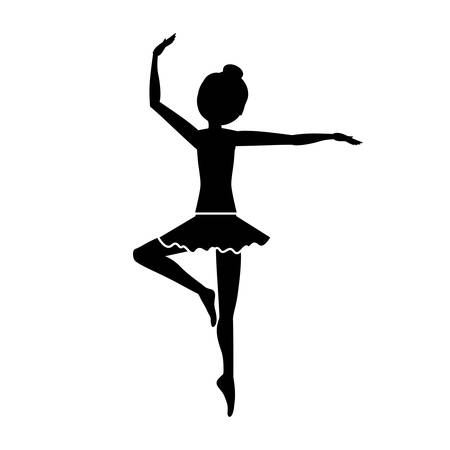pirouette: silhouette with dancer pirouette third position vector illustration Illustration