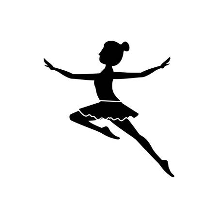 silhouette with dancer jump second arabesque vector illustration